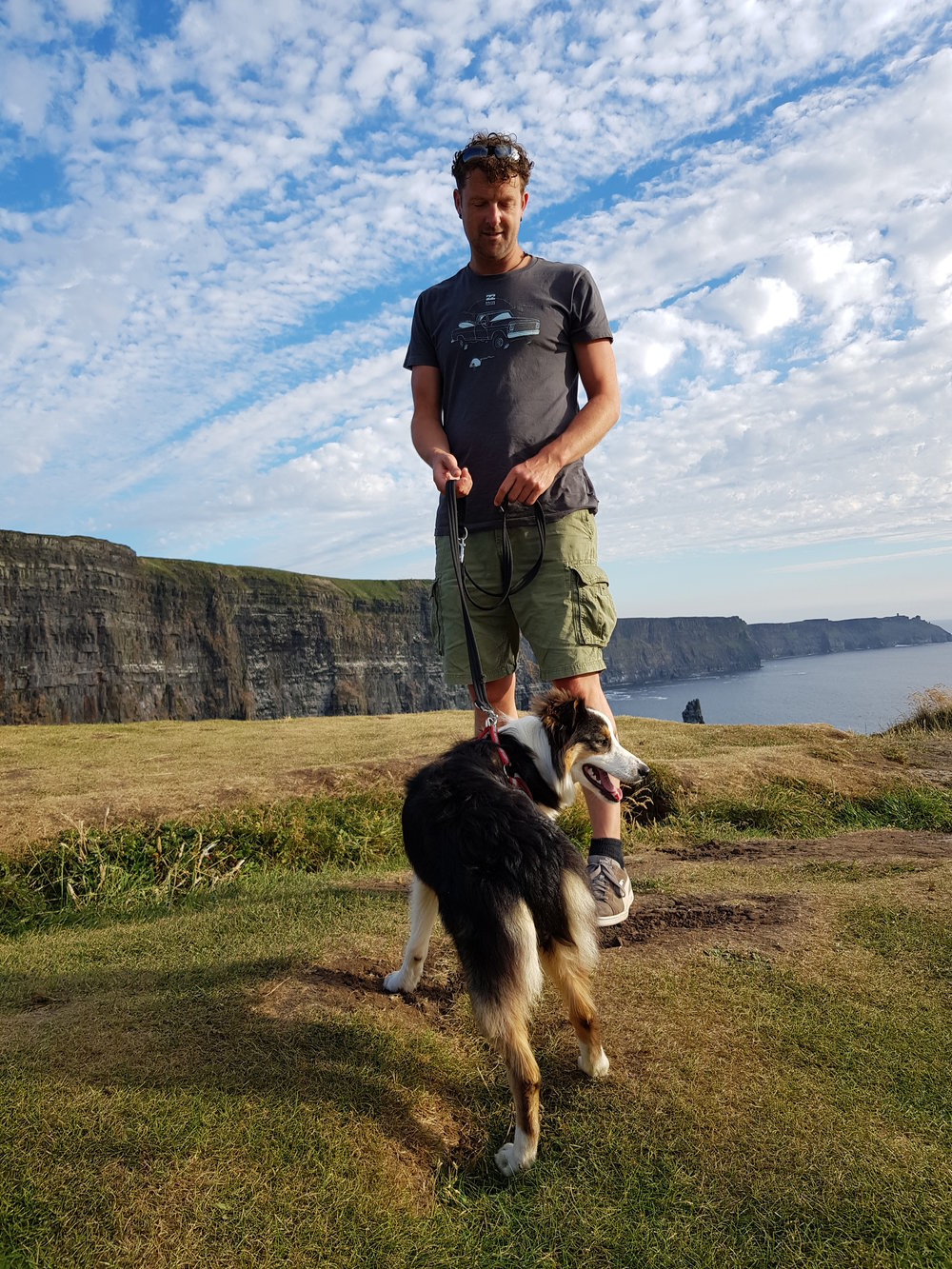 Cormac with Teelin the Collie at the Cliffs of Moher