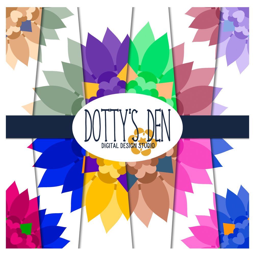 picture regarding Dotty Paper Printable called Assertion Flower Electronic Paper Pack - 12 x 12 and A4 Printable - 96 Papers