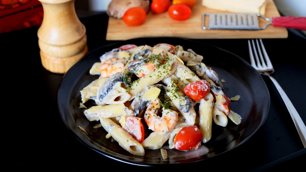 Creamy Ricotta and Mushrooms Penne Pasta