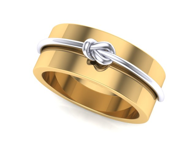 7mm Yellow Gold with White Gold Knot