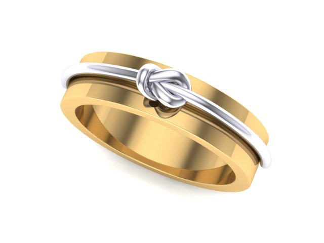 5mm Yellow Gold with White Gold Knot