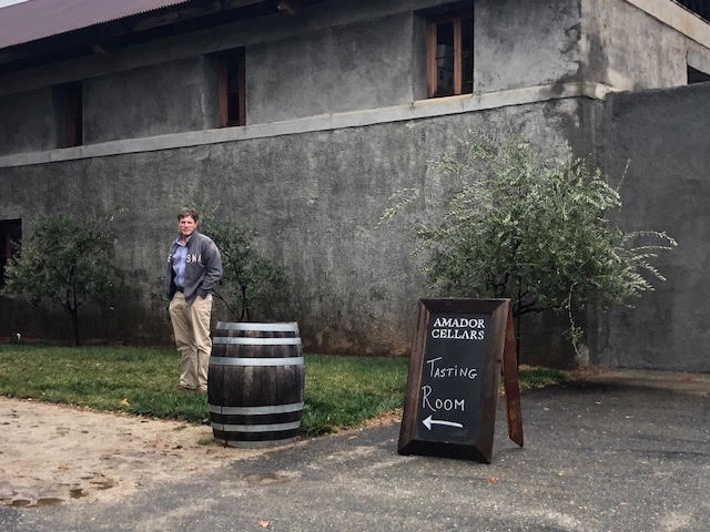Marc, my husband, in front of the Amador Cellars tasting room.