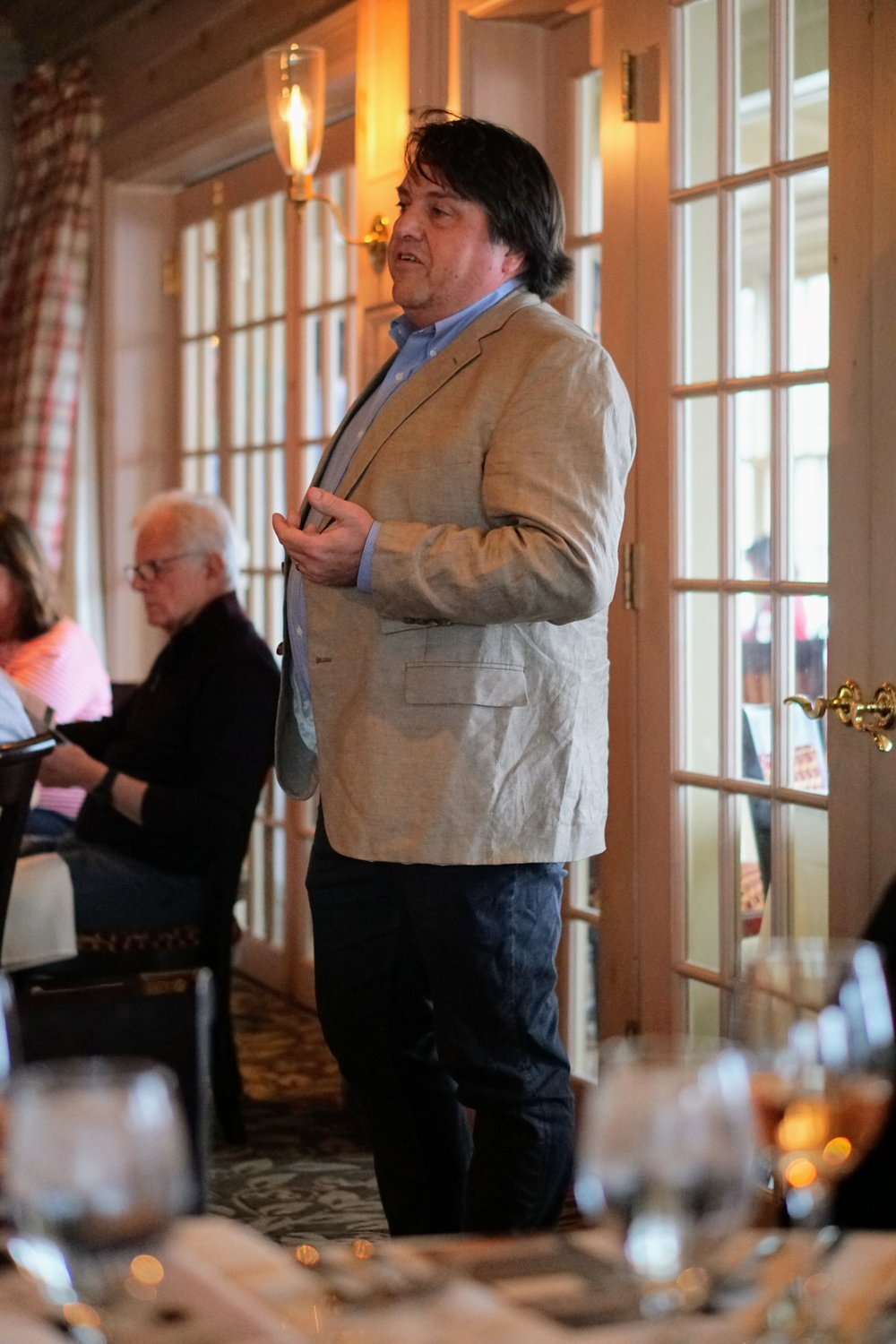 Morten Hallgren - Winemaker of White Birch Vineyards and Ravines Wine Cellars - Morten explaining the rise of and subtleties of the wines of the Finger Lakes to the guests.