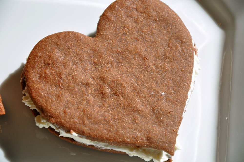 Heart-Shaped Brownie Cookie Sandwich