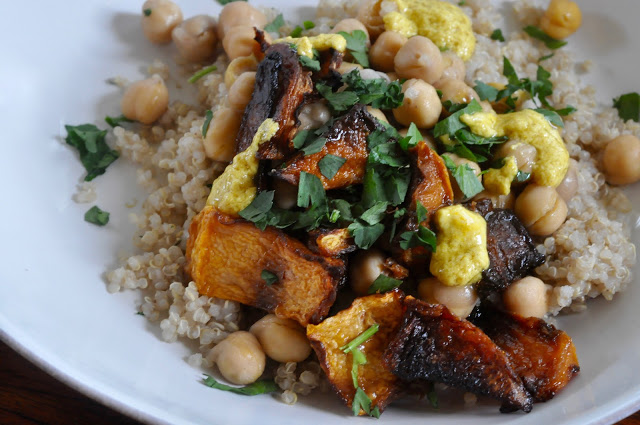 Roasted Butternut Squash and Chickpeas over Quinoa with Lemon-Tahini Dressing (Vegan)