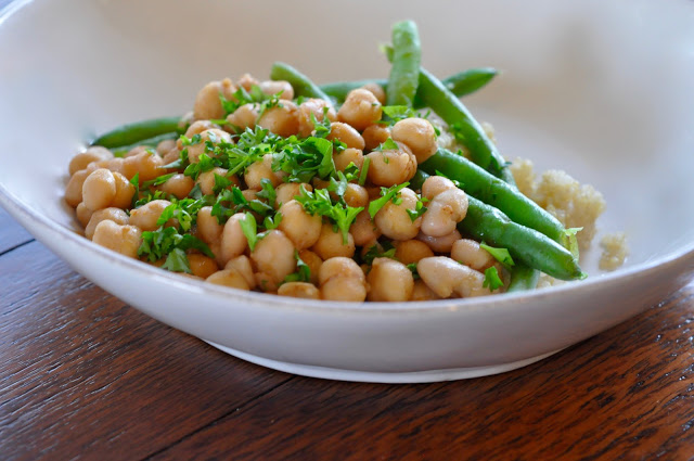 Vegan Green Beans with Chickpeas and Cannellini over Quinoa