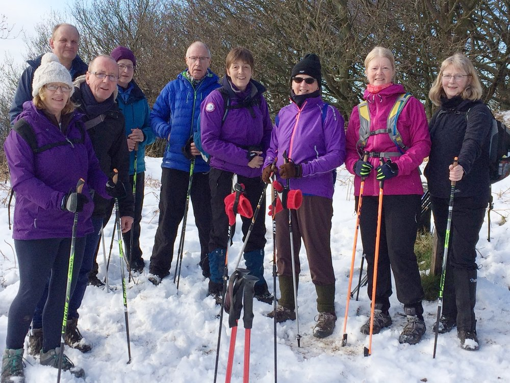 5 female and 3 male happy Nordic walkers with Nordic walking instructor in the middle in a winter scene. Snow on the ground, bare trees behind them and white sky.
