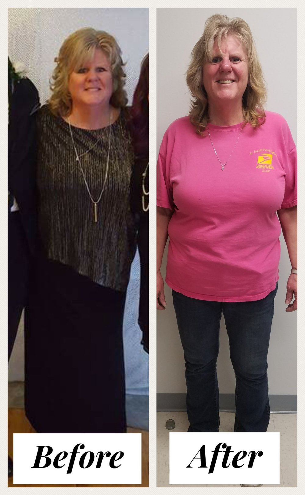 Amy Ritter      Starting Weight:  239 lbs                          Current Weight:  186 lbs - Amy started her journey at SOGA CMWL just 7 months ago.  Amy started on the QuickStart Program and is currently sticking to the Modified Program with bi-weekly weigh-ins and Lipo B injections. So far she has lost a total of 53 pounds, 9#s off her BMI,  36 lbs of just Fat, 7.6% Body Fat, added 4% on her water intake and actually went up  1 lb of Muscle!Amy wrote:  I have struggled with weight most of my life.  Up and down but mostly up.  I felt like I carried all the extra weight on my knees and hips.They were hurting so bad, I knew it was time to find something that worked! Being on certain meds for artificial heart valve, was one of my biggest concerns.  I tried herbal dieting then just gave up.  I lost my parents within 4 months of each other and divorce..all worked against me getting back on track.  Went to Dr. Doll- Pollard and she was telling me about the new diet plan they had at SOGA.  I thought