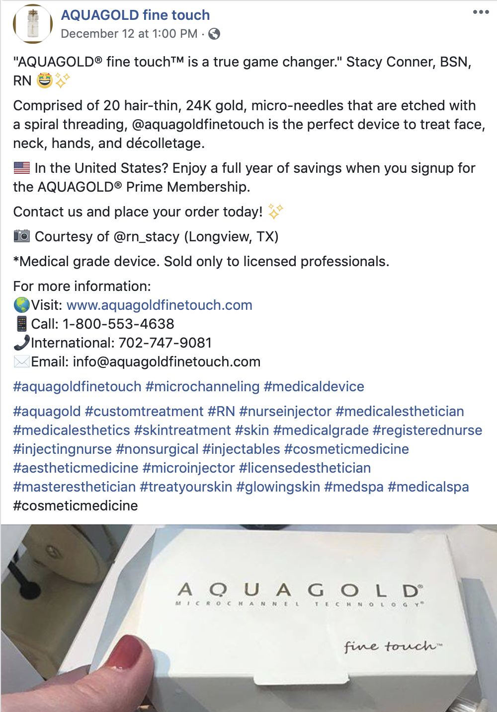 AQUAGOLD Fine Touch - Our client, Stacy Conner, RN, was featured on AQUAGOLD Fine Touch's Facebook page.
