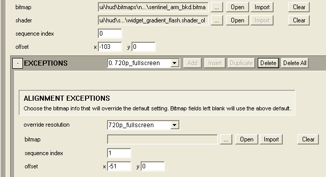 In this example, the exception pulldown gets its name from the selected override resolution. This allows independent control of elements for resolution tweaks.