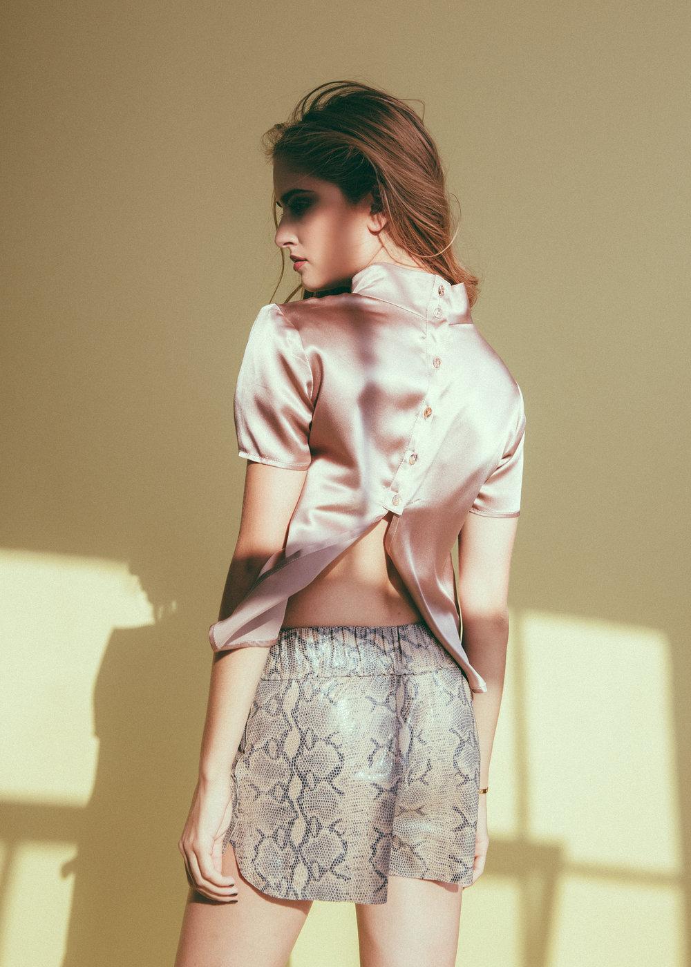 jessica-faulkner-python-leather-shorts.jpg