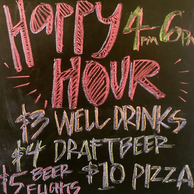 Happy Hour Monday-Friday!!!!! And today is the kick off of weekly specials!!! 🍕Monday Pizza and Pint Night! $8.99 one topping small or $12.99 small specialty za! $4 craft pints all night!