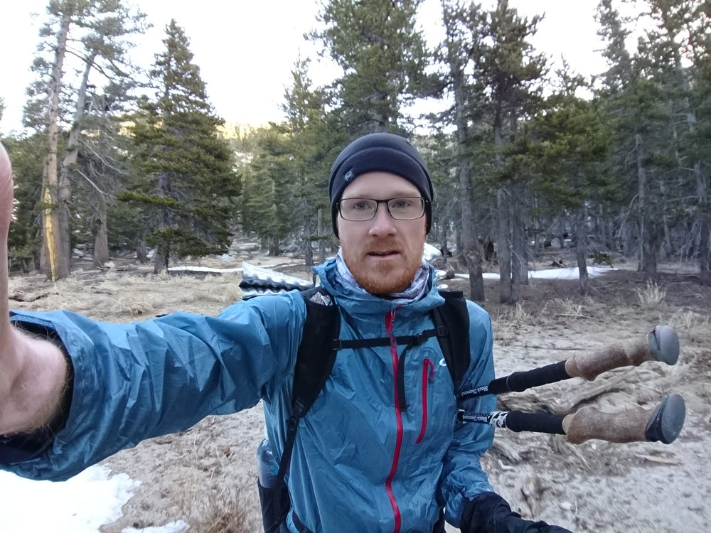 Hiking in the cold with most of my clothes on.