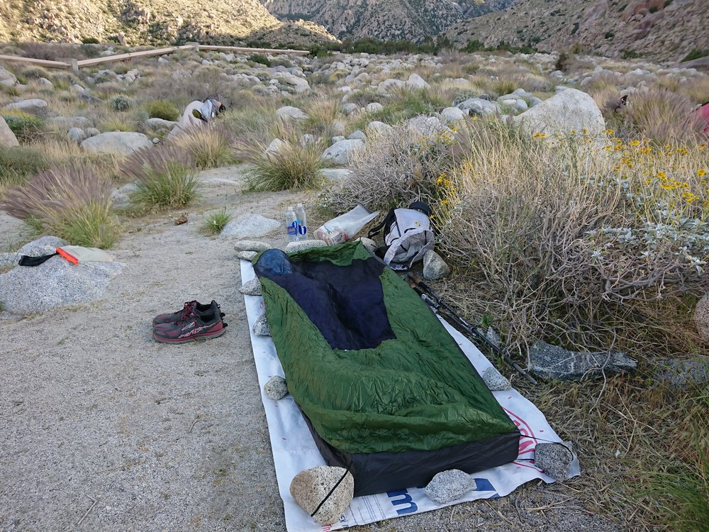 Windy campsite after the descent from Mt San Jacinto.
