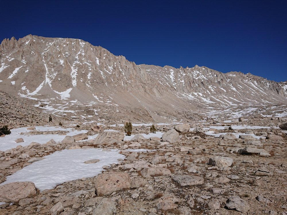 View of Mt Whitney and the ridge leading to it from Guitar Lake