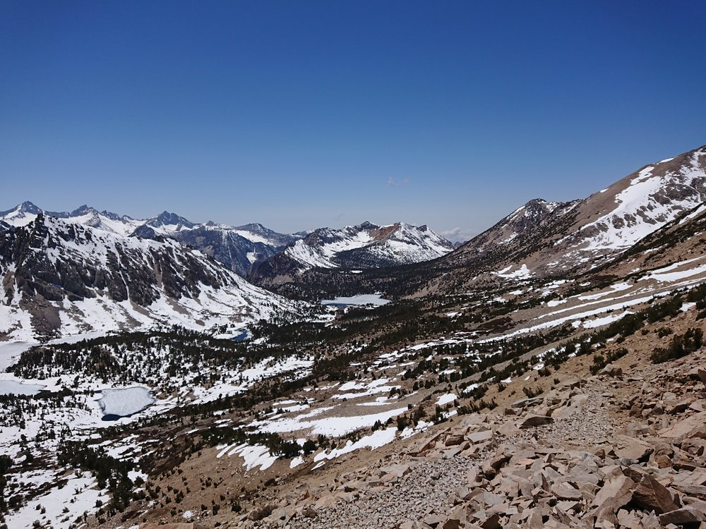 The view from Kearsarge Pass back towards the PCT