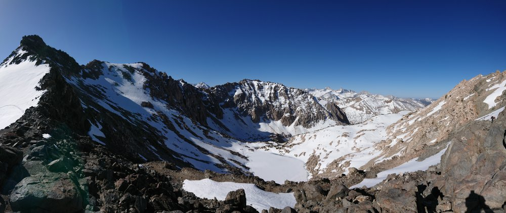 Panorama of the view from the top of the pass looking back