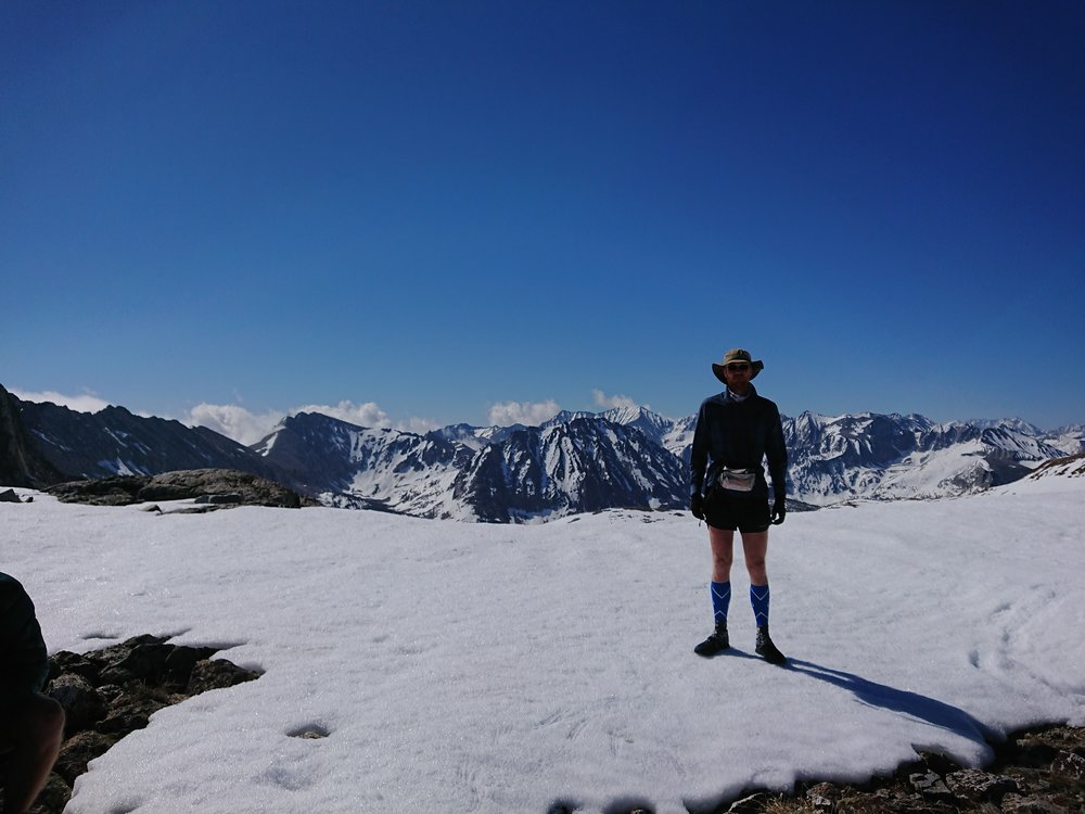 Finally on top of the pass in my very fashionable hiker outfit