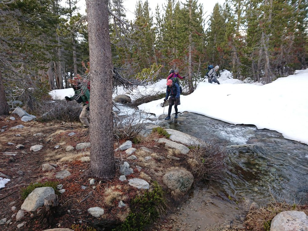 Everyone is struggling in the snow conditions and stream crossings