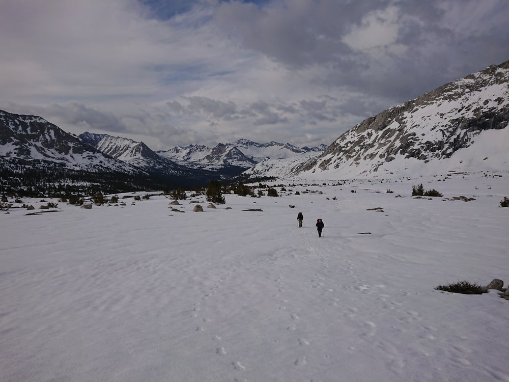 Looking back at Avocadoo and Sensei moving across the snow towards Mather Pass