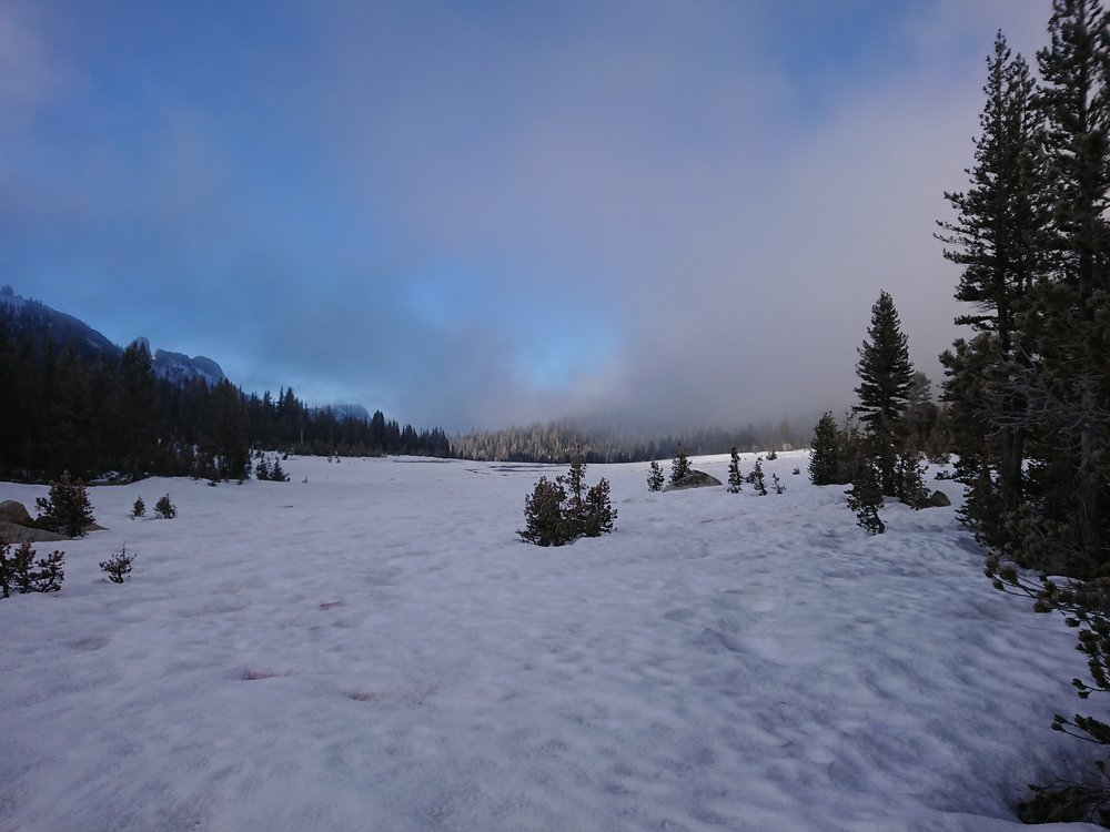 The big snow covered meadow on the JMT