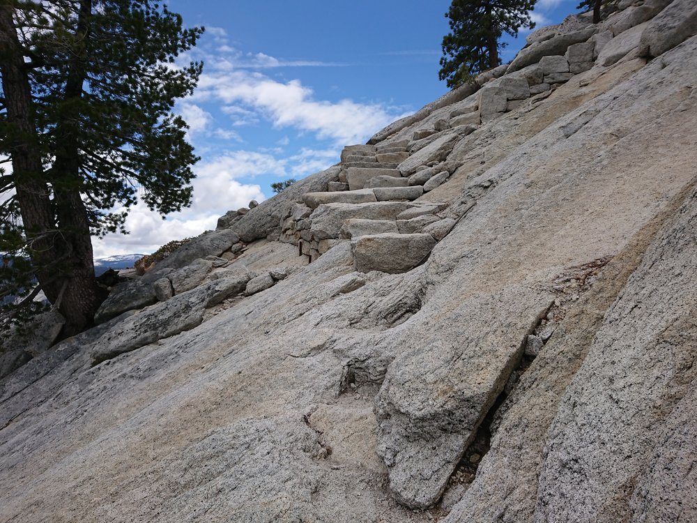 Some of the stone steps up Half Dome