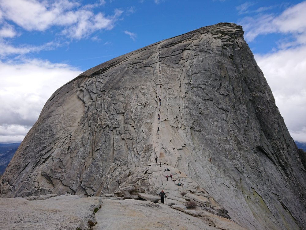 The steep cables section for the last bit of climbing up Half Dome