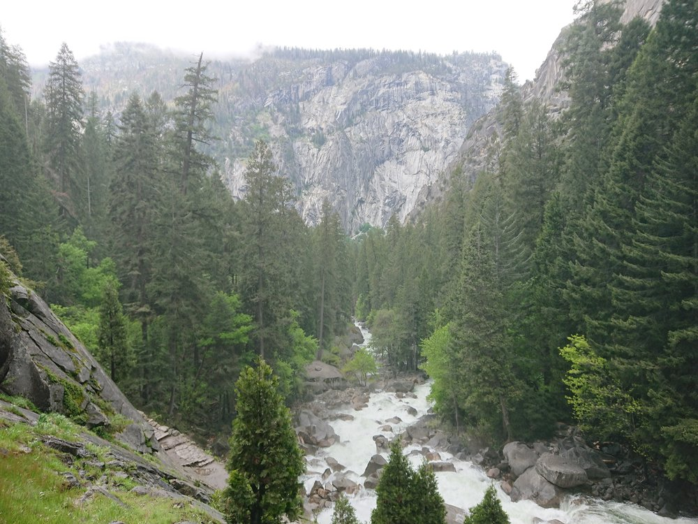 Looking towards the valley on the Mist Trail downstream from the two falls