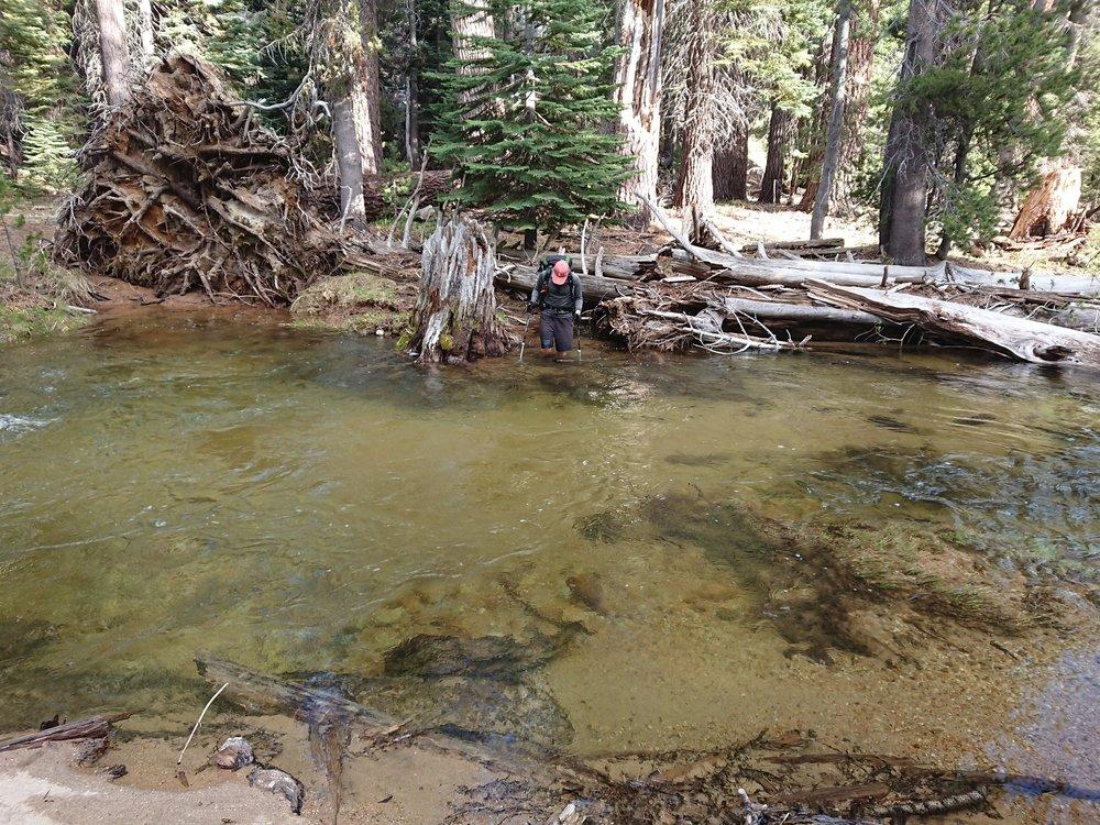 One of the very deep creeks we had to cross