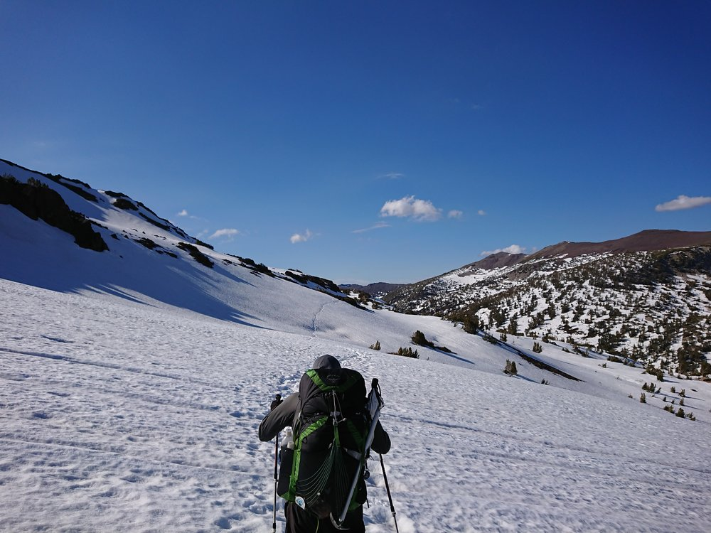 Starting the final descent after the high elevation after Sonora Pass still plenty of snow