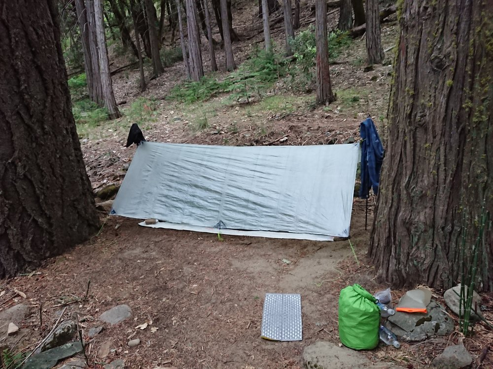 After starting the day with rain I took no chances and setup my tarp, as it was still quite cloudy