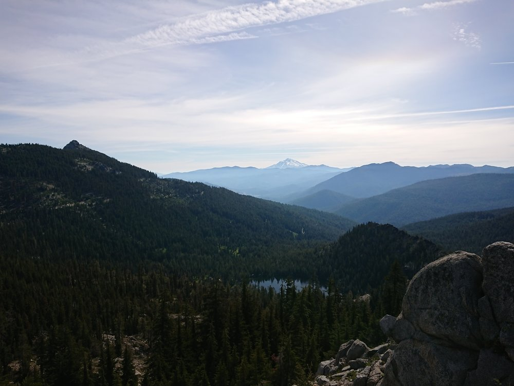 Mount Shasta visible behind the valleys