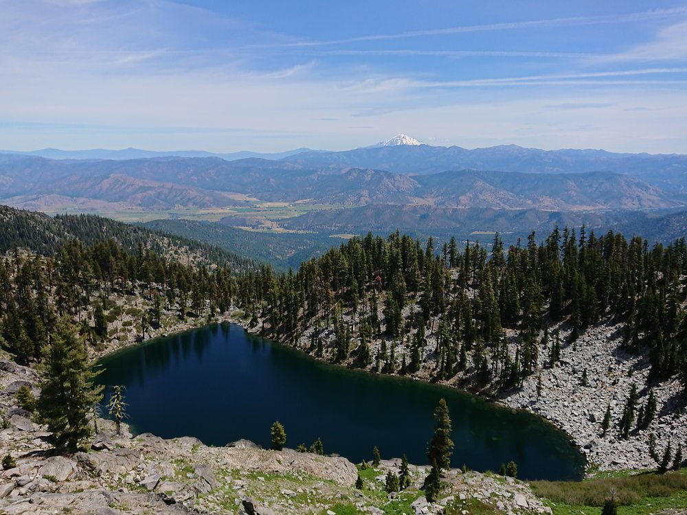 Mount Shasta makes for a nice background, this lake was visible from the highpoint before the descent to the road to Etna
