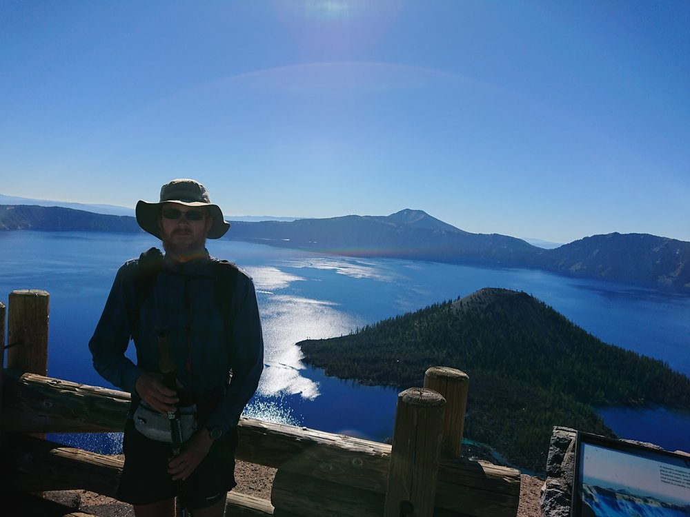 Me at a lookout over Crater Lake
