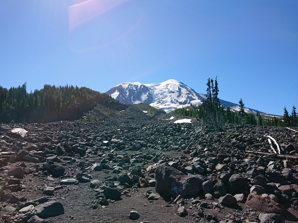 Mount Adams from a riverbed