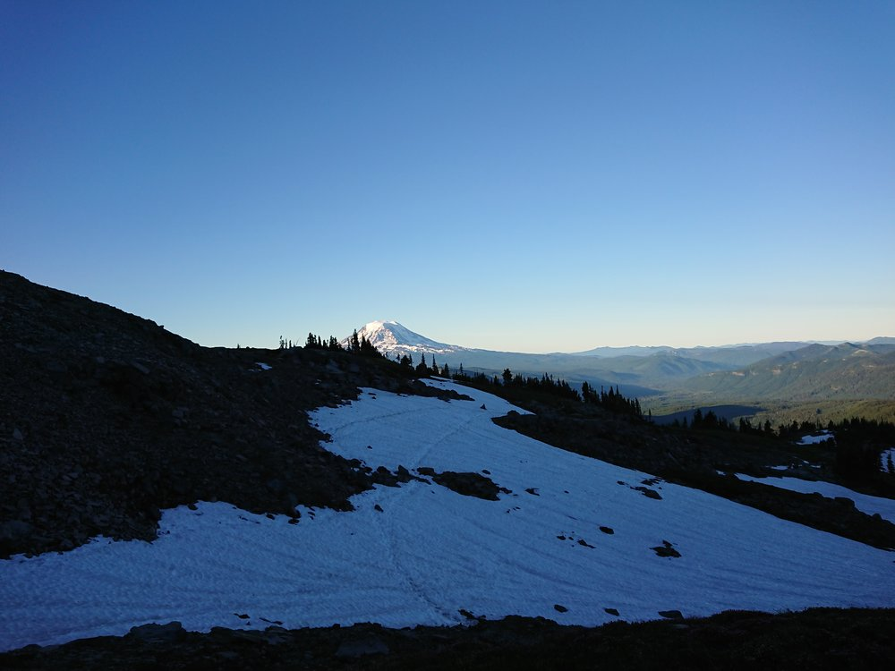 Big snow patch I crossed with Mount Adams in the background