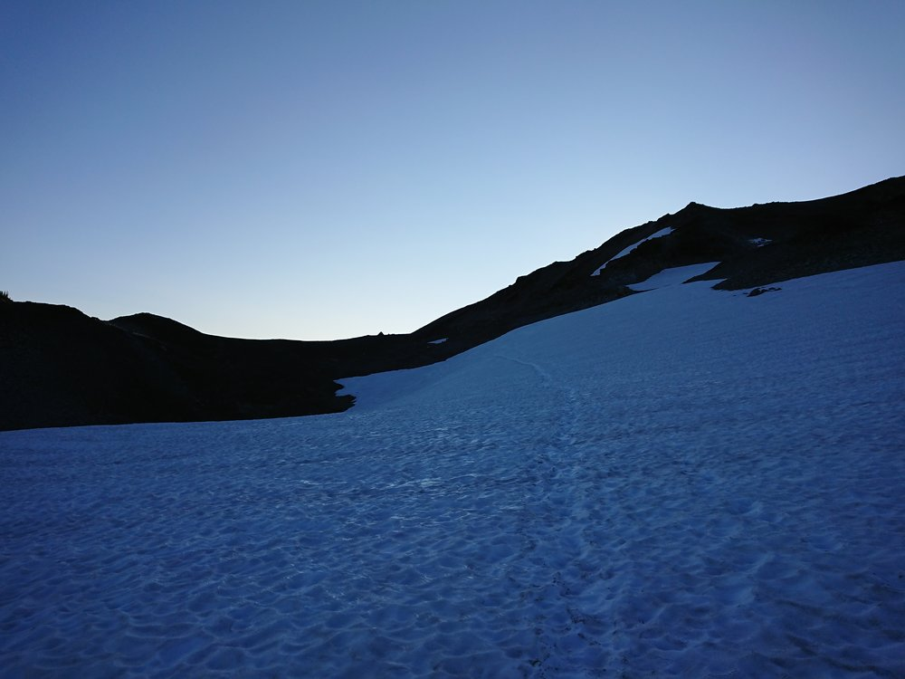 Big snow patch before the climb to Knife's Edge