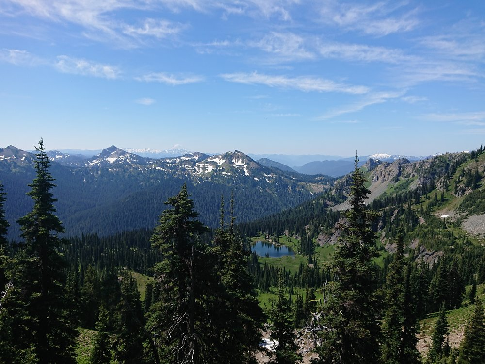 Looking back to Sheep Lake and Chinook Pass from the ridge