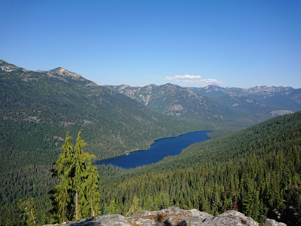 Beautiful lake in forested valley