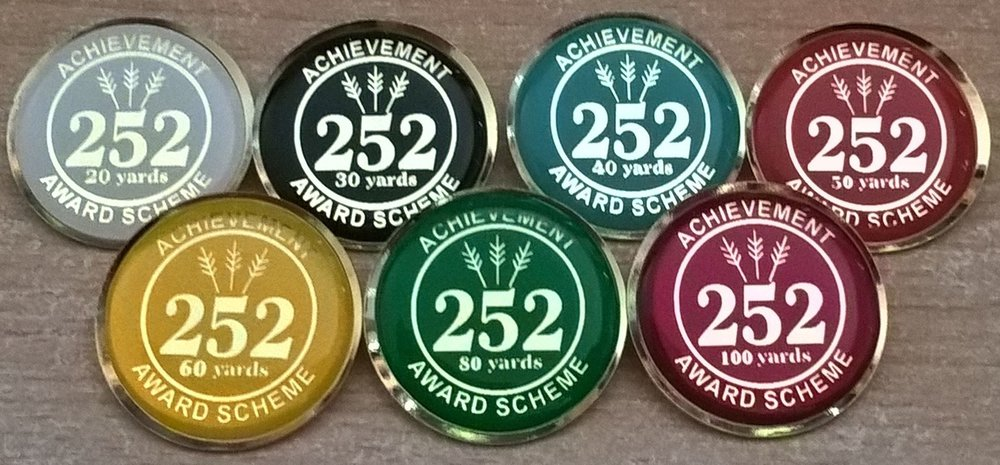 252 Badge Scheme for Outdoors   Progress award badges  for the '252' round