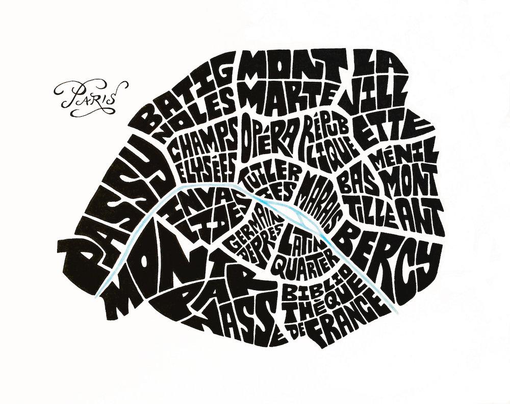 "Paris Typography Map . Ink. 2016. 10x10"""