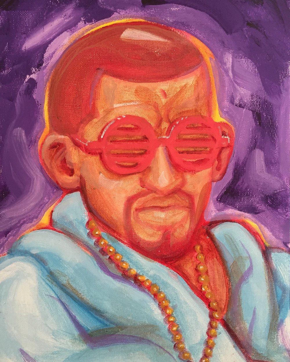 "Mahatma Ganye West . Acrylic on Canvas. 2016. 9x12"""