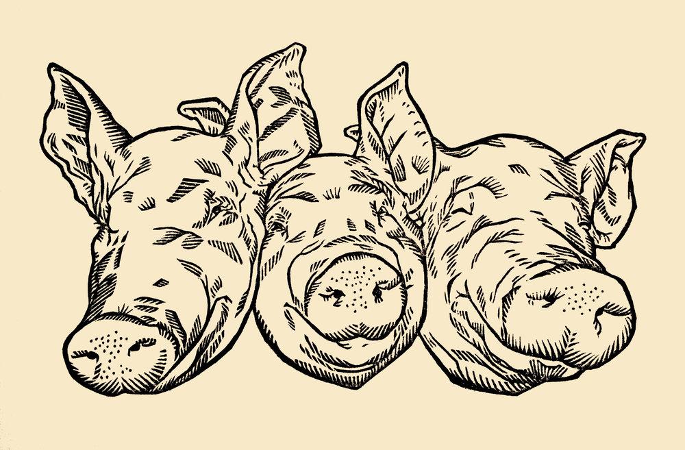 """Three Little Pigs . Linocut. 2016. 6x10"""""""