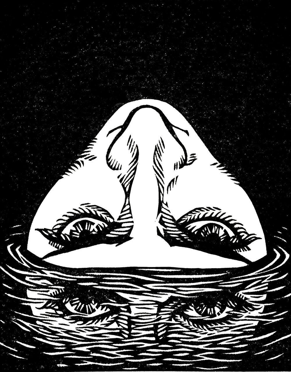 "Reflection . Linocut. 2016. 8x10"""