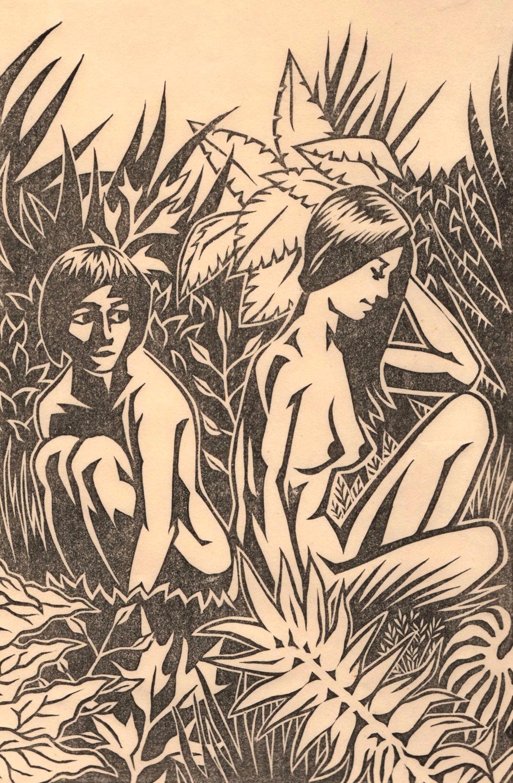 "Untitled (Jungle #1) . Linocut. 2013. 6x9"""