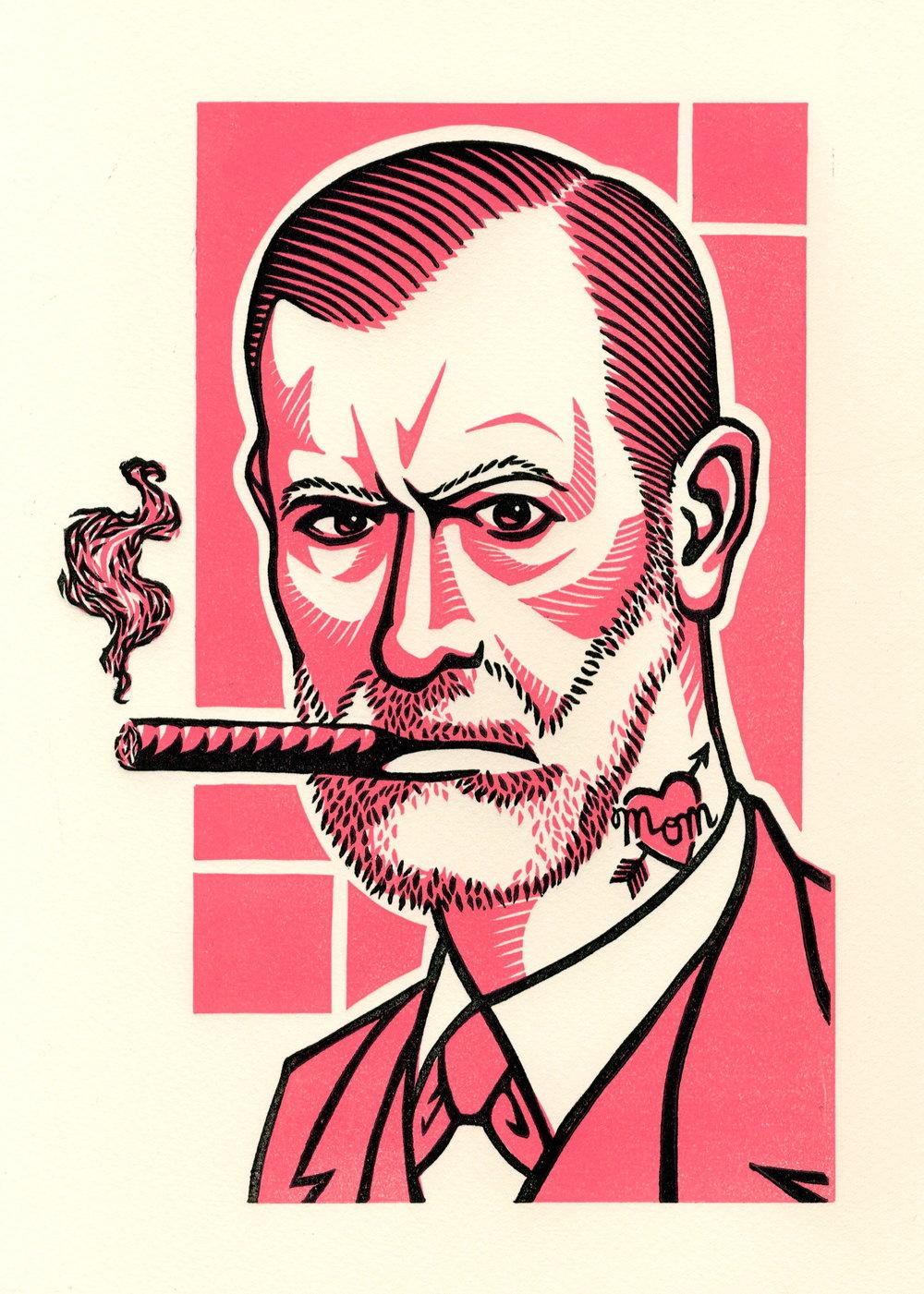 "It Id What It Id (Sigmund Freud).  Linocut. 2011. 7x10"""