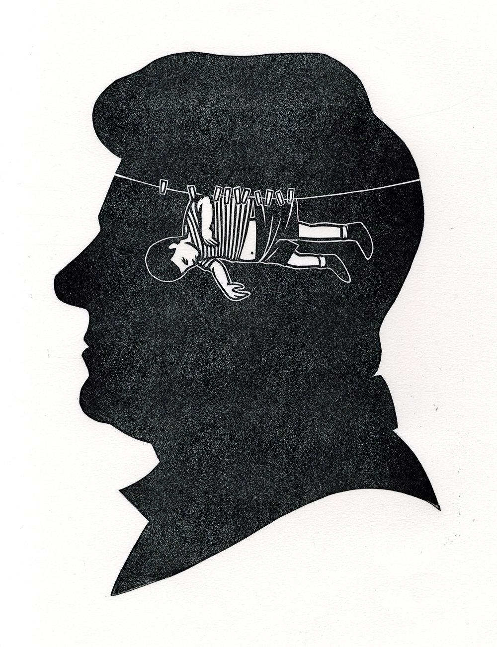 """Dreams As Infantile . Linocut. 2012. 8x10"""""""