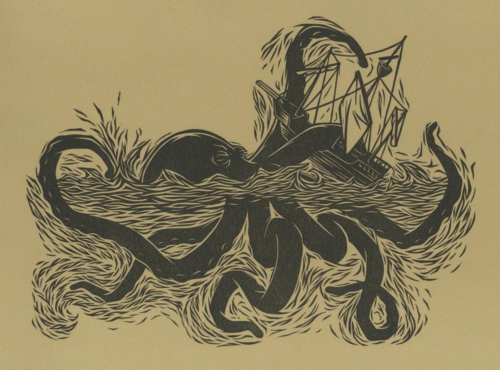 "Ghost Ship . Linocut. 2011. 9x12"""