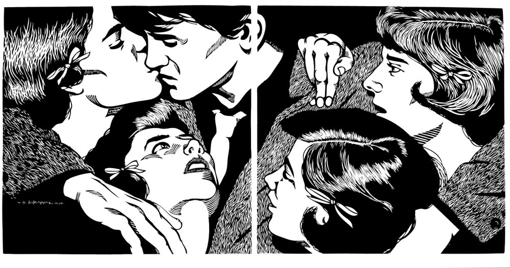 ...And Men Want To Be Him . Linocut. 2009. 12x24""