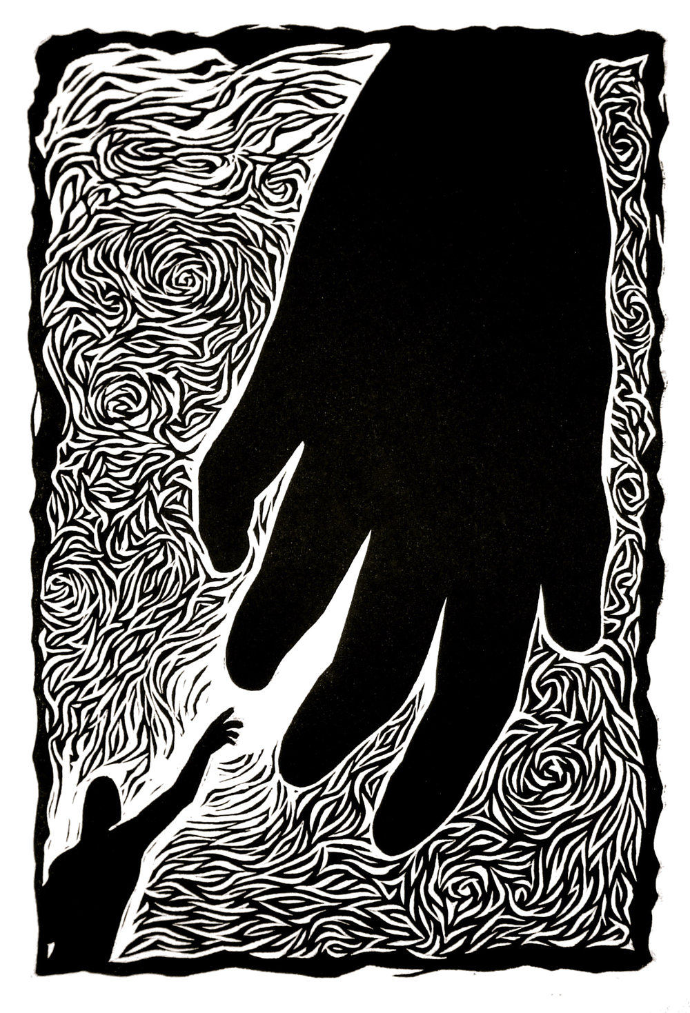 "Untitled (Hand) . Linocut. 2008. 6x9"""